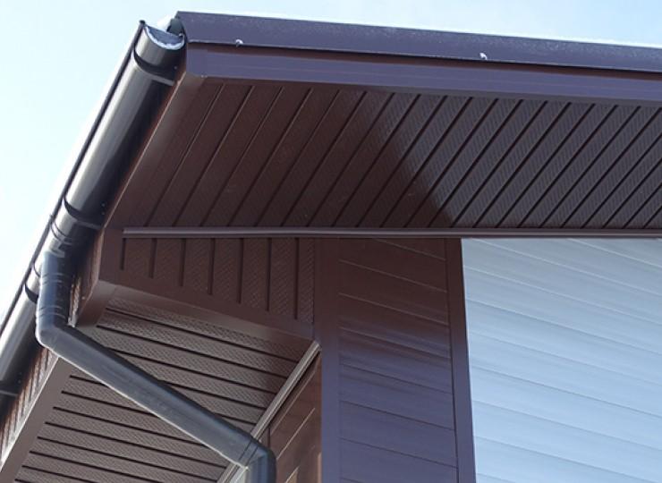 Софит перфорированный металлический, цвет RAL 8017 (шоколад)